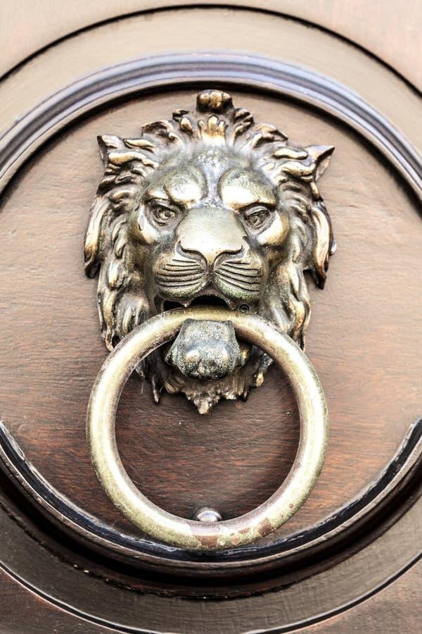 Door knocker lion royalty free stock photo