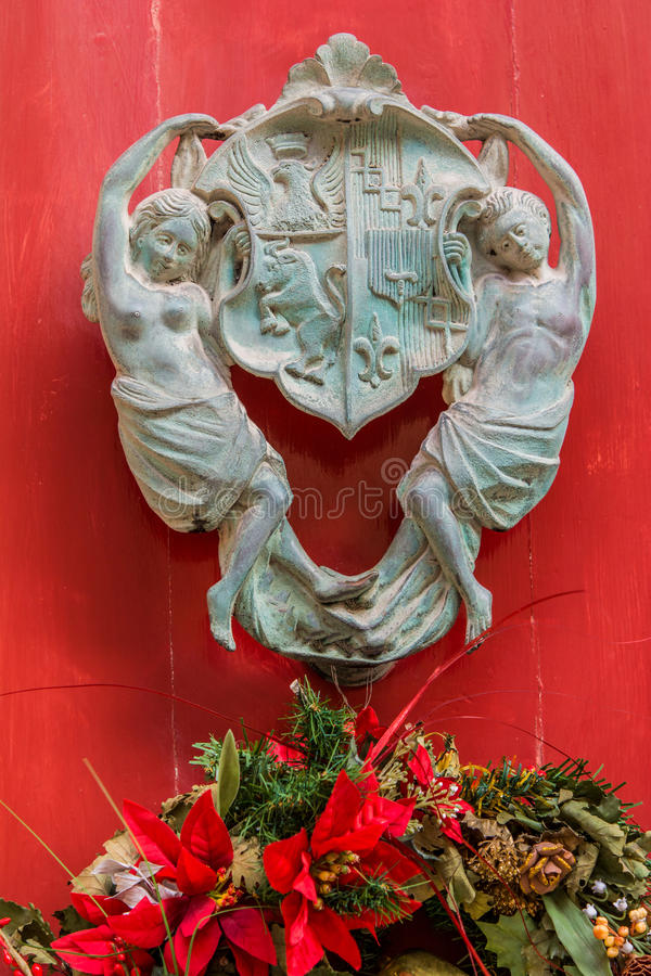 Door knocker of a maltese house. royalty free stock photo