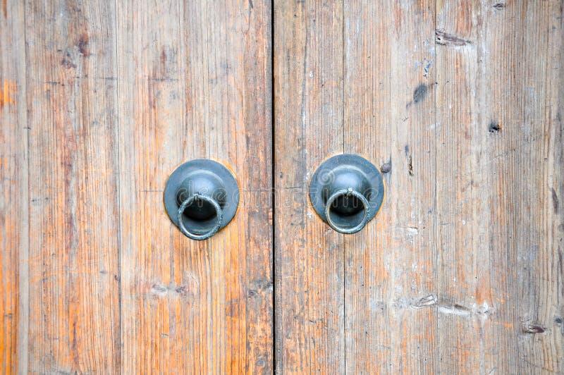Wood Door knocker. Old Door knocker on wooden door royalty free stock image