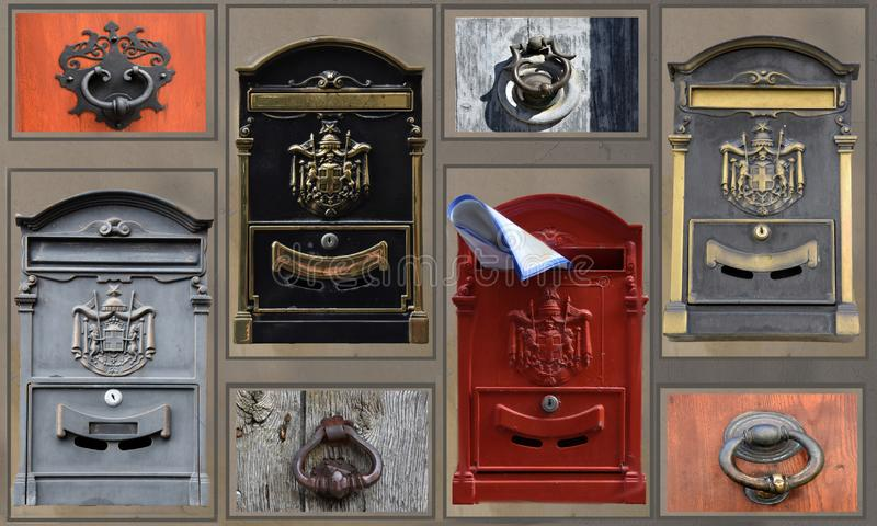 Door knockers and letter boxes, collage stock photo