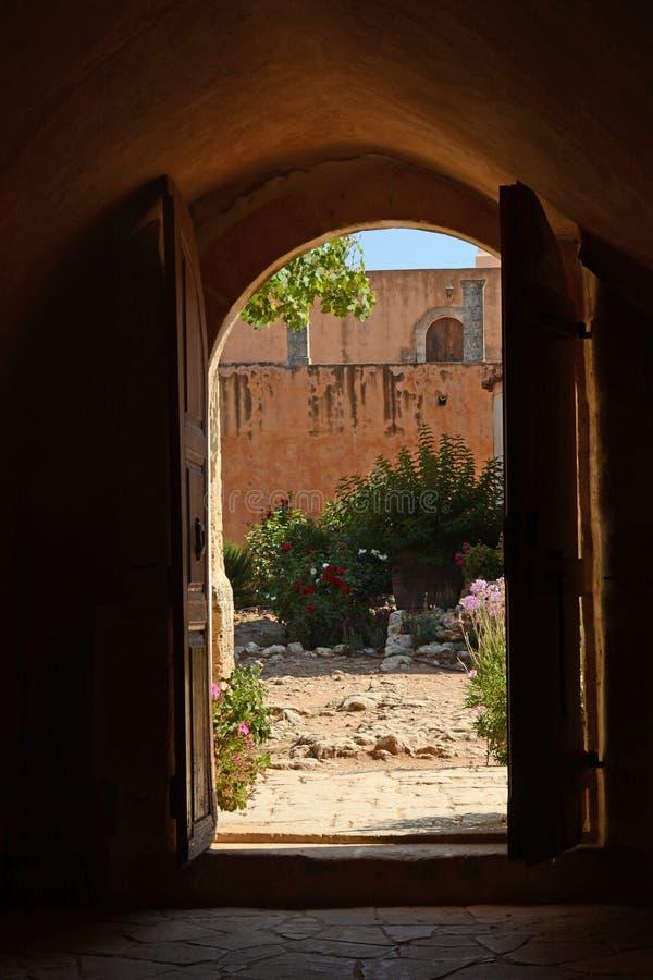 The door leading into the monastery Arkadi courtyard. Crete, Greece stock photo