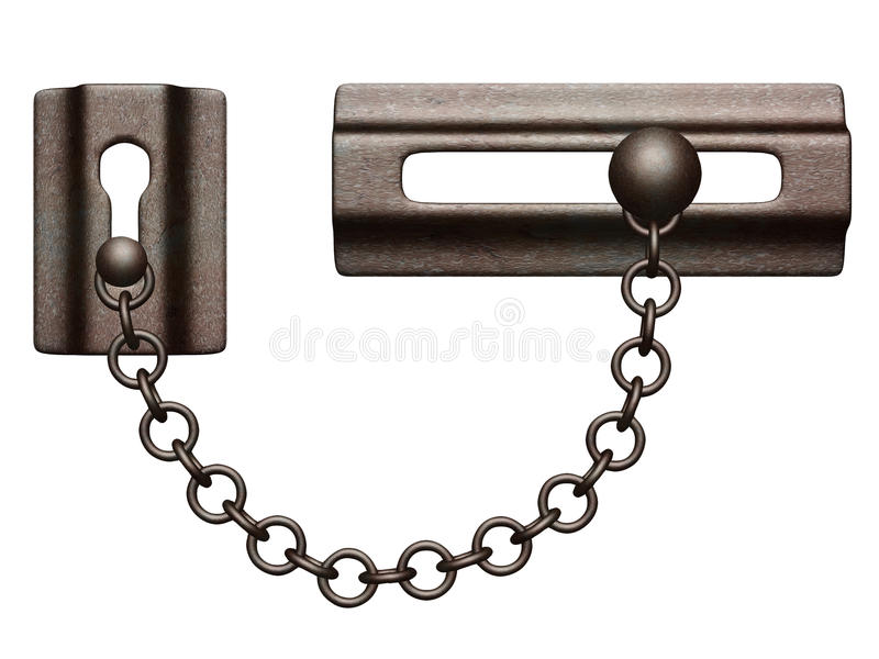 Door lock. Old-styled door lock with chain. Isolated on white background royalty free illustration