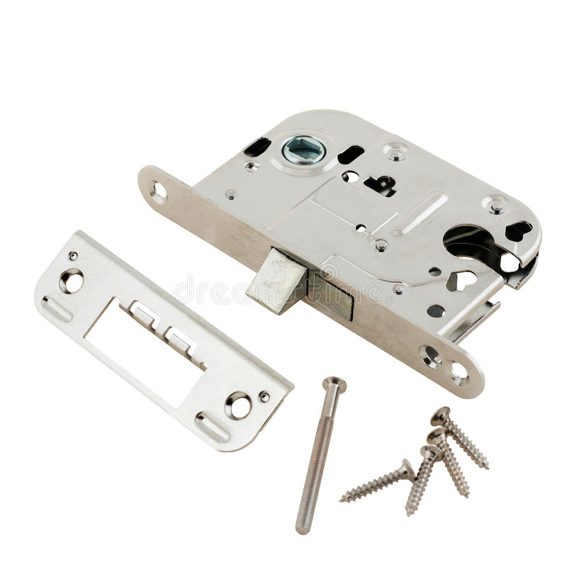 Door Lock Assembly On White Background Stock Photo