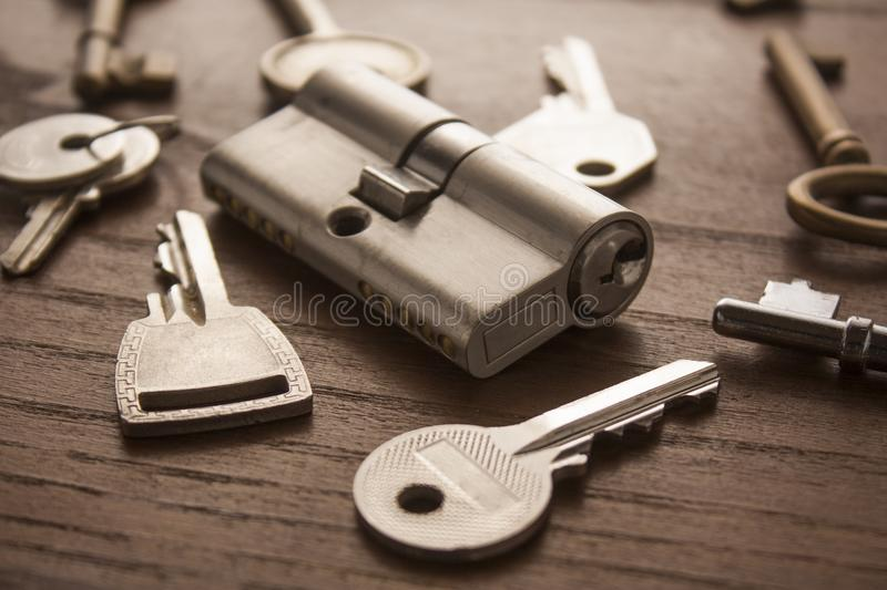 Door lock with keys royalty free stock images