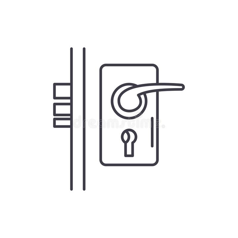Door lock line icon concept. Door lock vector linear illustration, symbol, sign stock illustration