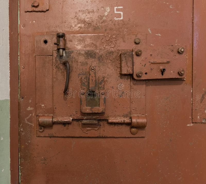 Door lock in old prison. royalty free stock photography
