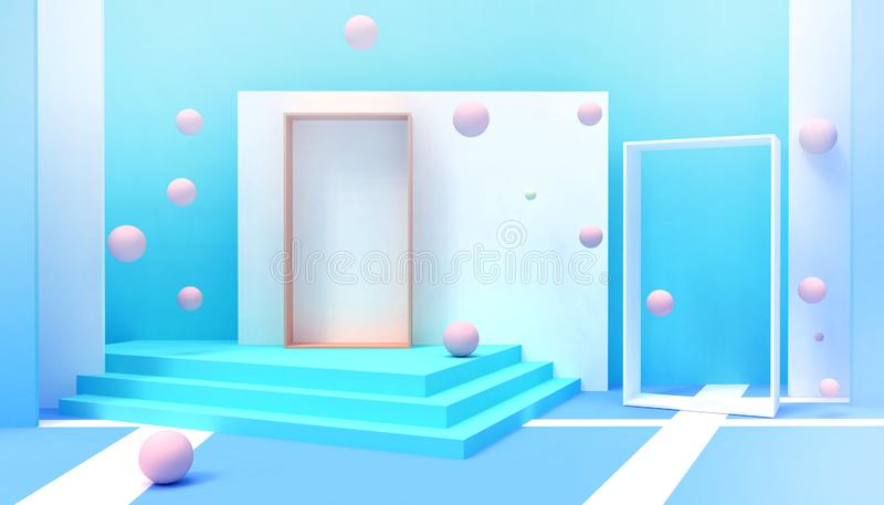 Door modern ideas of Happiness  Minimal idea space room  creative and Geometric shapes Abstract Background Inspiration Concept royalty free stock image