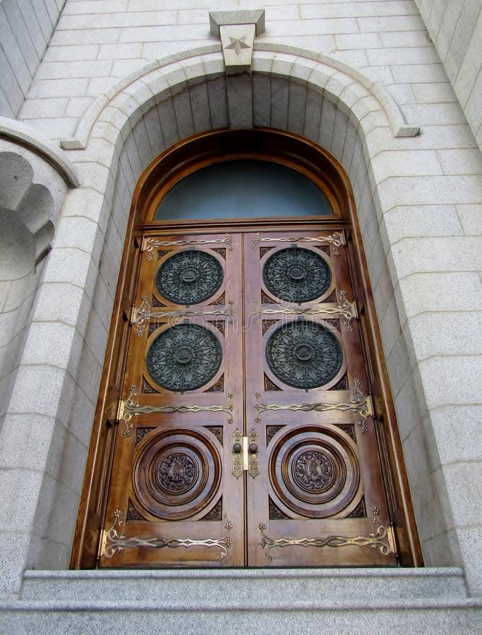 Door of Mormon Temple in Salt Lake City royalty free stock photo