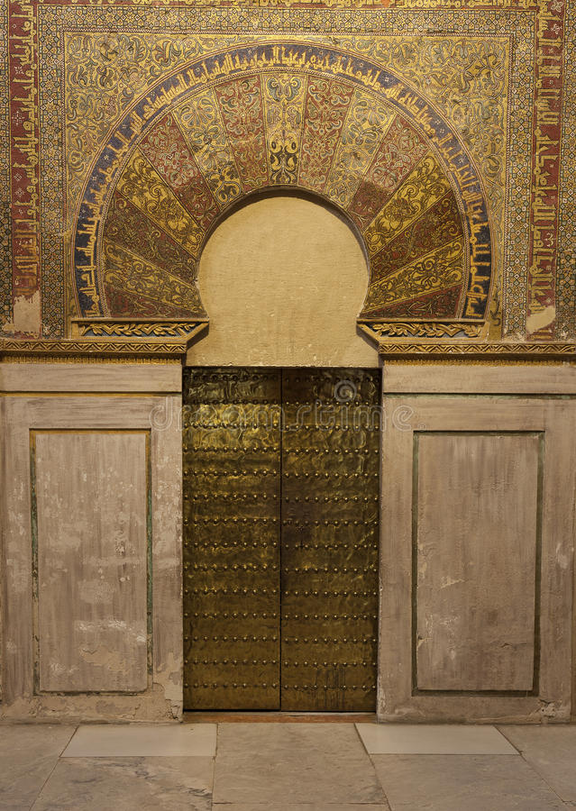 Door of the Mosque-cathedral of Cordoba. Andalucia, Spain stock photography