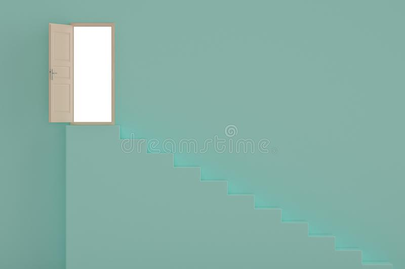 A door open on blue wall 3D illustration royalty free illustration
