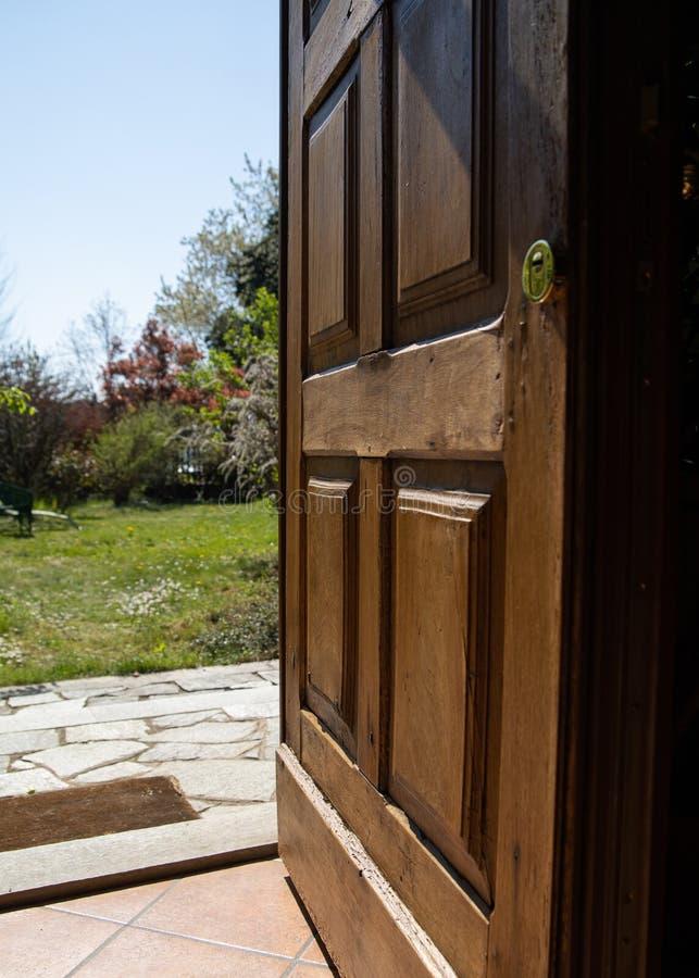 Door open on spring. Garden royalty free stock photos