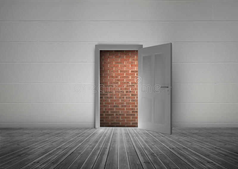 Door open to reveal red brick wall blocking the way. In a dull grey room royalty free illustration