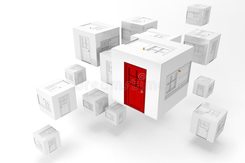 Door of Opportunity. 3d image of block containg door with one red door showing opportunity vector illustration