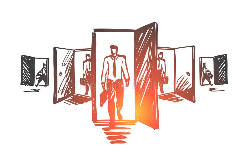 Door, opportunity, job, business, career concept. Hand drawn isolated vector. Door, opportunity, job, business, career concept. Hand drawn man standing in front stock illustration