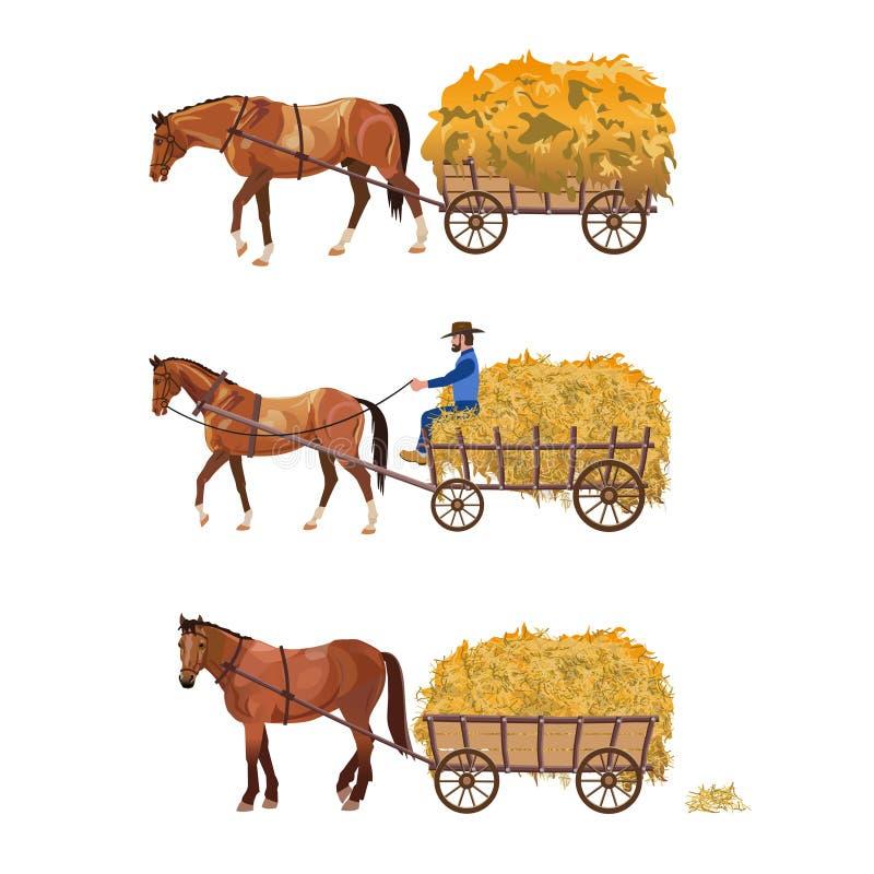 Door paarden getrokken kar met hooi vector illustratie