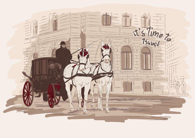 Door paarden getrokken vervoer, de bouw Hand getrokken schetsillustratie in vector Tijd te reizen royalty-vrije illustratie