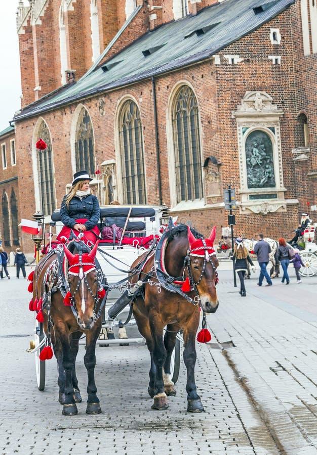 Door paarden getrokken vervoer in Krakau royalty-vrije stock foto
