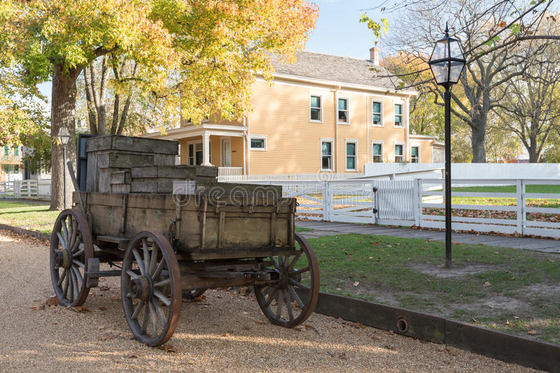 Door paarden getrokken Wagen in Lincoln Home National Historic Site stock foto