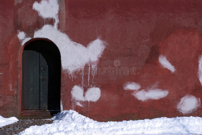 Door and red wall royalty free stock photo