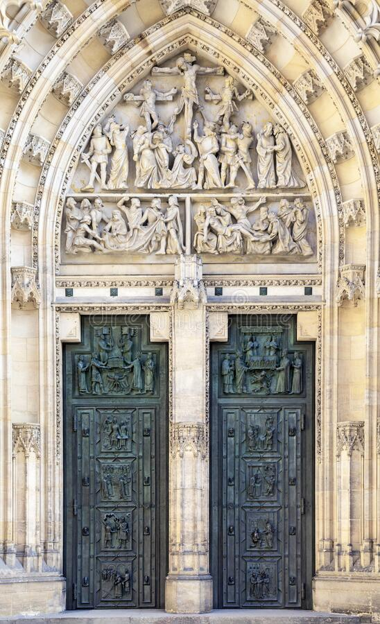 Door of Saint Vitus cathedral in Prague royalty free stock photo
