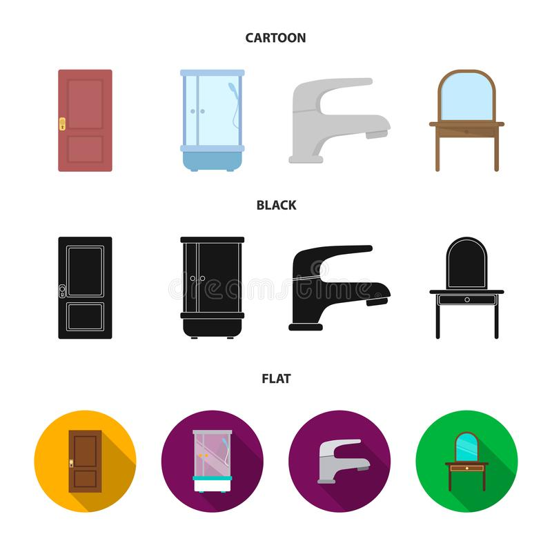 Door, shower cubicle, mirror with drawers, faucet.Furniture set collection icons in cartoon,black,flat style vector. Door, shower cubicle, mirror with drawers stock illustration