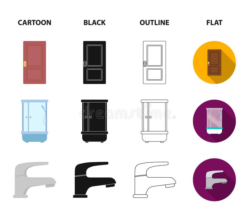Door, shower cubicle, mirror with drawers, faucet.Furniture set collection icons in cartoon,black,outline,flat style. Door, shower cubicle, mirror with drawers vector illustration
