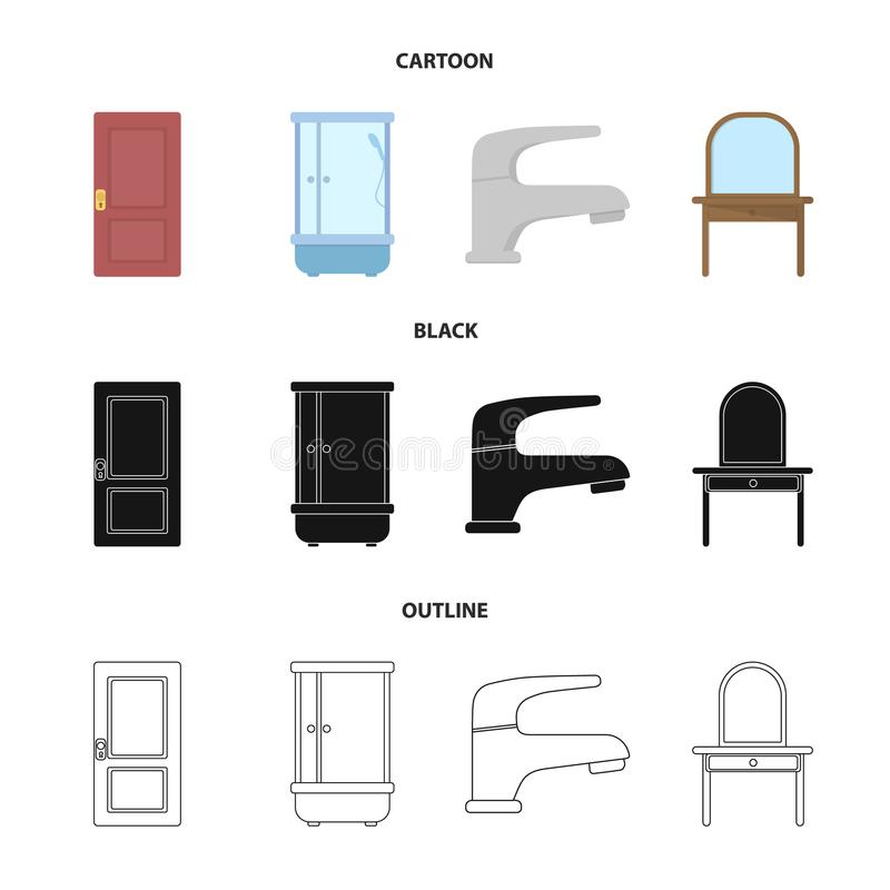 Door, shower cubicle, mirror with drawers, faucet.Furniture set collection icons in cartoon,black,outline style vector. Door, shower cubicle, mirror with drawers stock illustration