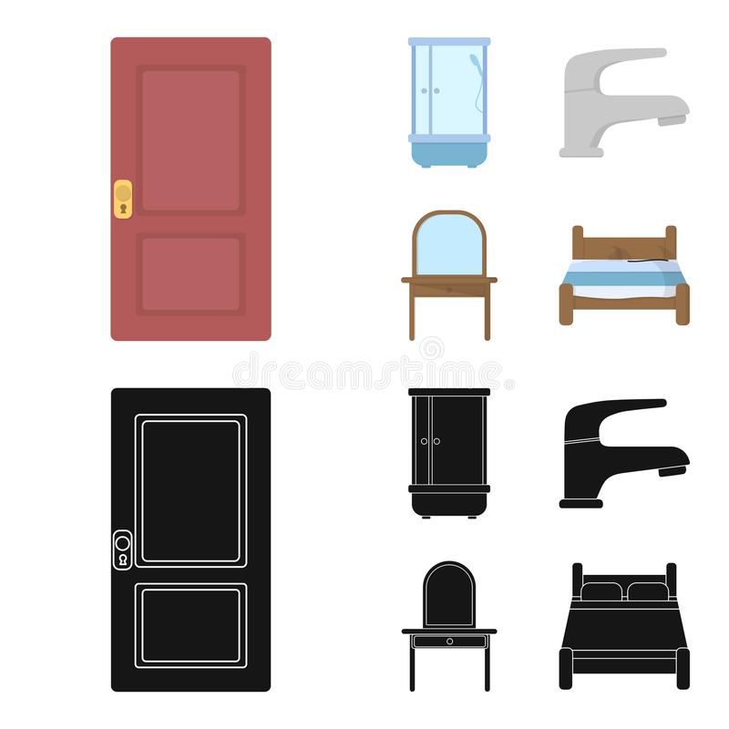Door, shower cubicle, mirror with drawers, faucet.Furniture set collection icons in cartoon,black style vector symbol. Door, shower cubicle, mirror with drawers vector illustration