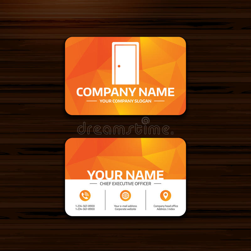 Door sign icon. Enter or exit symbol. Business or visiting card template. Door sign icon. Enter or exit symbol. Internal door. Phone, globe and pointer icons vector illustration