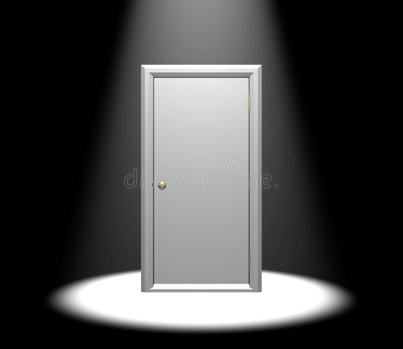 Door in Spotlight. White free standing door in a the spotlight. Isolated on a black background royalty free stock images