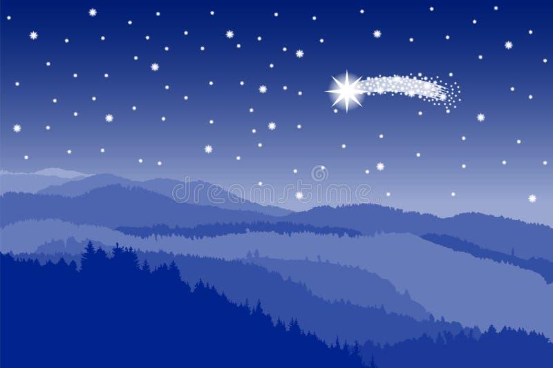Door sterren verlichte hemel met vallende ster royalty-vrije illustratie