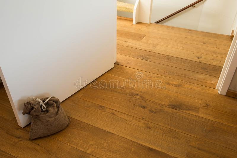 Door stopper on laminate floor.Door stopper to prevent bumps while opening doors. Modern design royalty free stock image