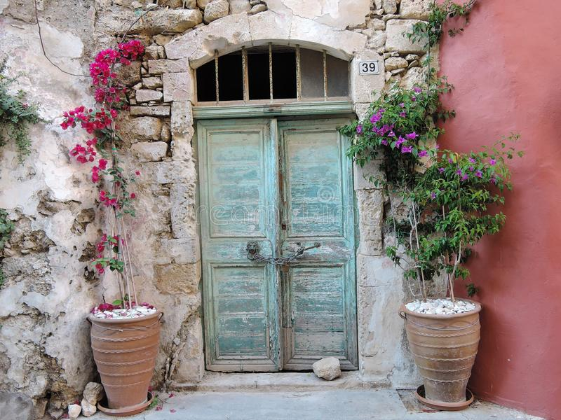 Door on the street in Rethymno Crete Greece.  royalty free stock photography