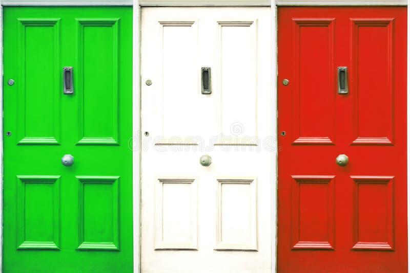 Door symbolizing closing. Italian flag colored door.  stock photos