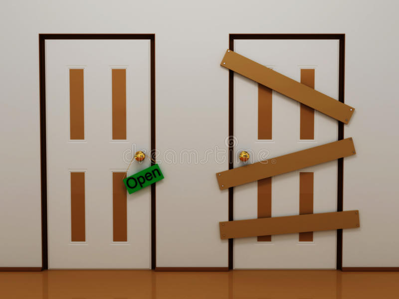 Download Door With Tag Open And Boarded Door Stock Illustration - Image: 13346693