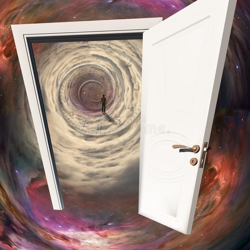 Door in time. The white door, man in space tunnel with time spiral. Some elements image credit NASA stock image