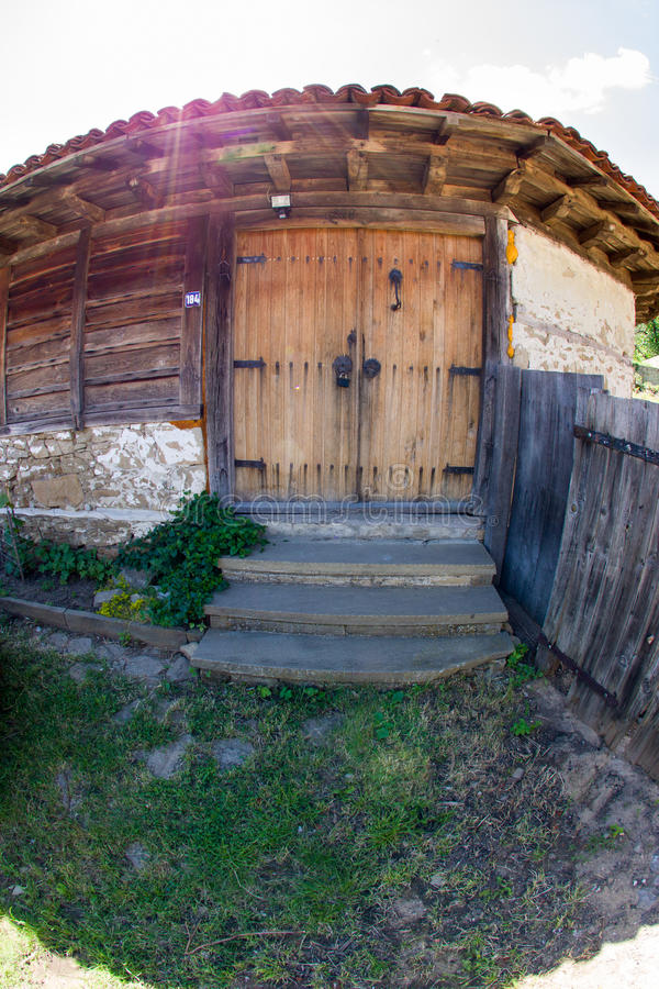 The door to the barn in the Balkan village royalty free stock images