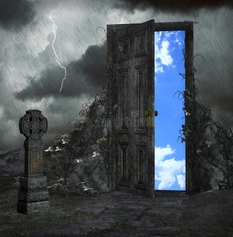 Door to a better place royalty free illustration