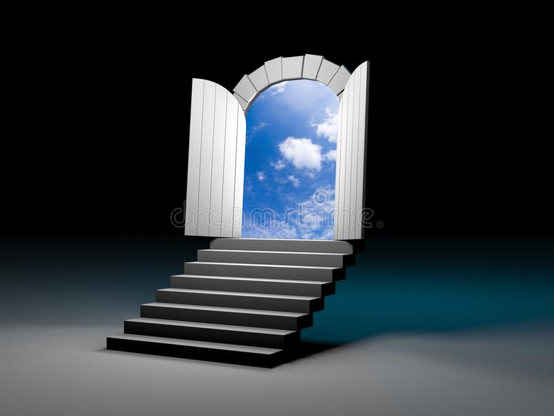 Door to blue clear sky with steps royalty free illustration