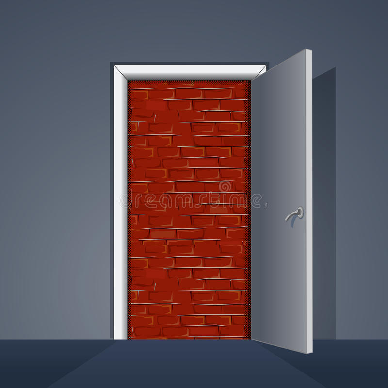 Door to Brick Wall. Ready for Your Text and Design stock illustration