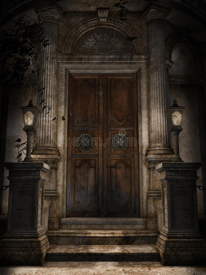 Door to a crypt. Ornamented door to a gothic cemetery crypt with lanterns vector illustration