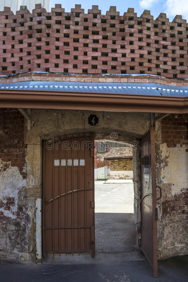 Door to Four Yard, Adelaide Gaol, Adelaide, South Australia. Adelaide, South Australia, Australia - August 14, 2016: Door to Four Yard of the historic Adelaide stock photos