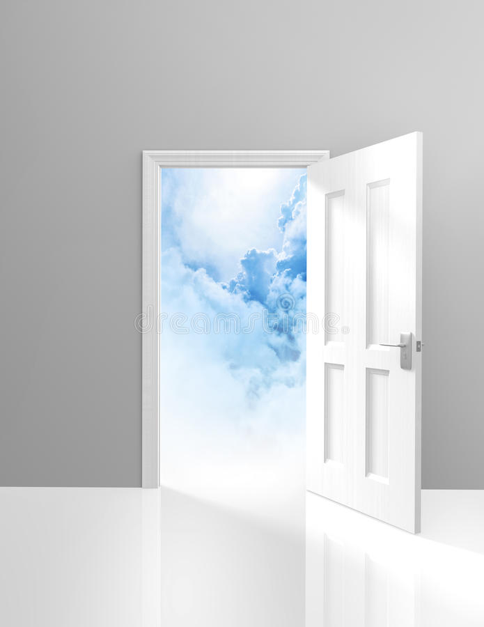 Free Door To Heaven, Spirituality And Enlightenment Concept Of An Open Doorway To Dreamy Clouds Royalty Free Stock Photography - 45114737