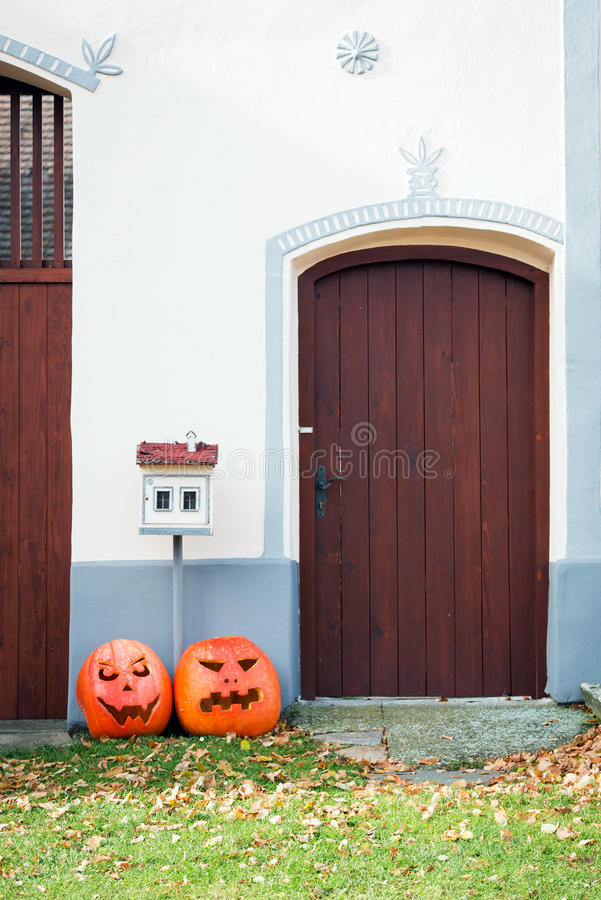Door to house in Holasovice, Czech republic stock photo