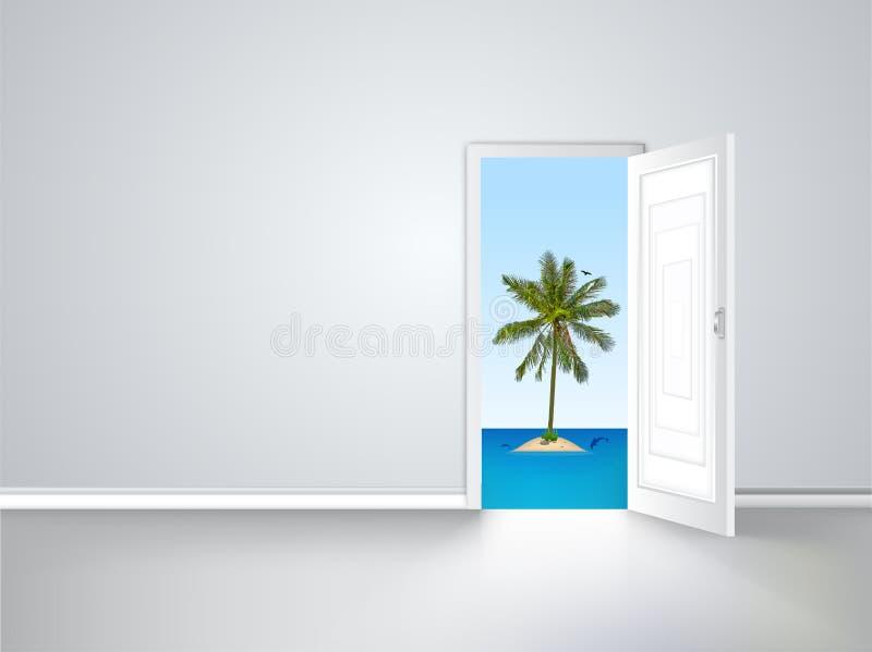 Door to island view behind an open door concept royalty free illustration