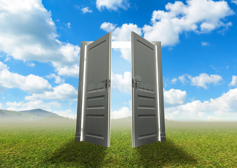 Door to the new world stock photography