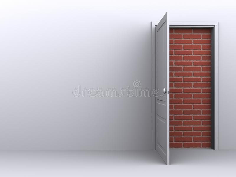 Door to nowhere on in a white room, no way out stock illustration