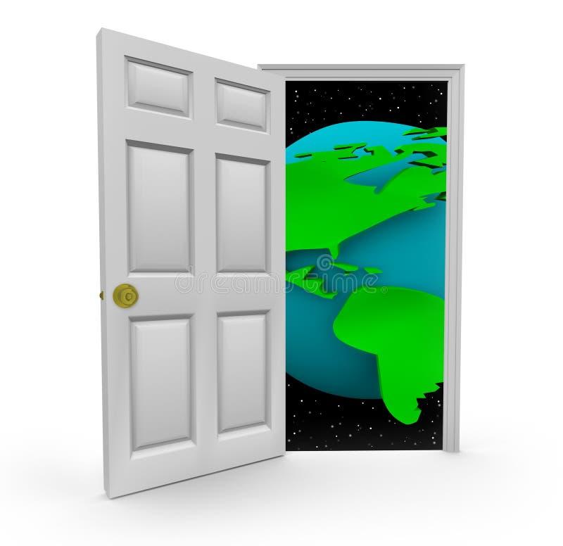 Door to a World of Opportunities. Open the door to a world of opportunities stock illustration