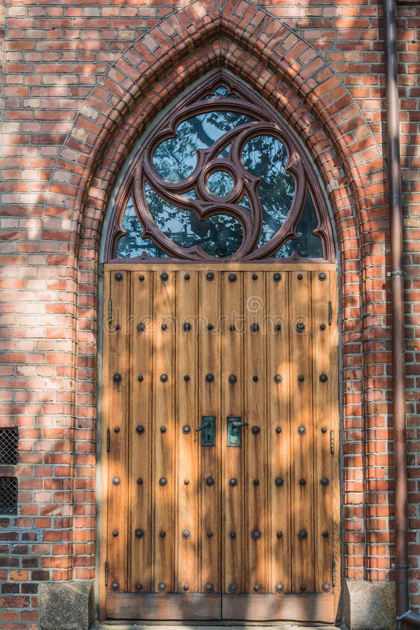 Door of Tonsberg Cathedral - Norway.  stock images