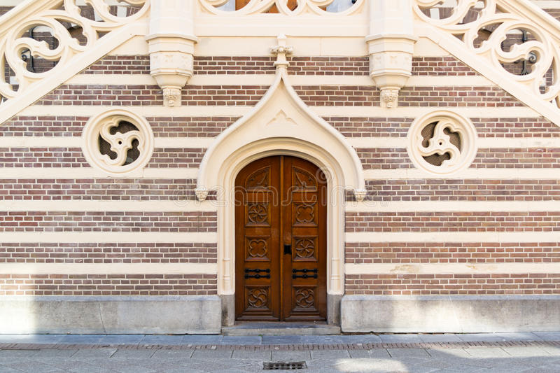 Door of town hall of Alkmaar, Netherlands stock photos